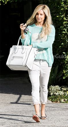 Looking bright and cheerfulin a Vintage Havana Skull Graphic Knit Sweater, Ashley Tisdale left Andy Lecompte Salon in Los Angeles on Tuesday (February 12).    #CelebrityStyleGuide
