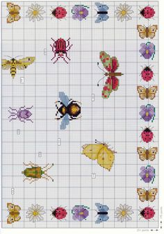 Charted bees, butterfly, Dragonfly, etc bugs Butterfly Cross Stitch, Mini Cross Stitch, Cross Stitch Animals, Cross Stitch Flowers, Cross Stitch Charts, Cross Stitch Patterns, Cross Stitching, Cross Stitch Embroidery, Insect Crafts