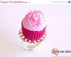 On Sale SCENTED Food Jewelry Hot Pink Cupcake Ring by BiteMeNot