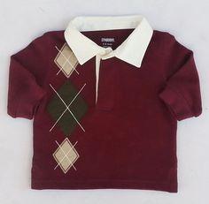 Gymboree Preppysaurus Boys Burgundy Wine Argyle Rugby Polo Shirt Sz 3-6 MON NWT #Gymboree #DressyEverydayHoliday