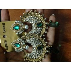 Green danglers in stone and diamond - Online Shopping for Earrings by rang!