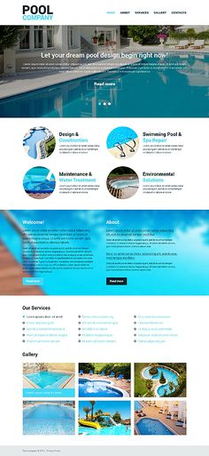 Template 48319 water park responsive website template template 48287 pool company responsive website template pronofoot35fo Image collections