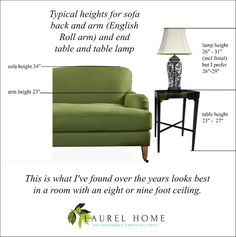 typical heights sofa, table lamp, end table