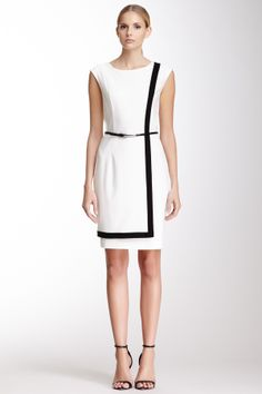 Calvin Klein Sleeveless Contrast Trim Dress