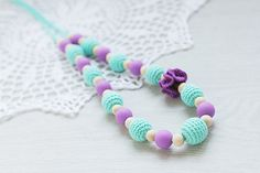 SiliconeCrocheted and Wooden beads Teething by NecklacesForMommy, $29.00