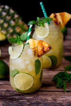 Pineapple Ginger Mojitos With Spiced Rum Ginger Mojito Spiced Rum Mojito