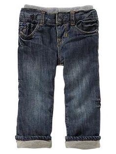 Christmas pants option #2: Lined knit-waist original fit jeans (medium wash)   Gap