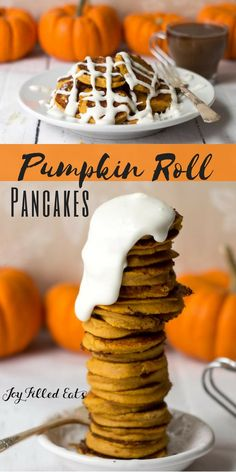 I was craving a pumpkin roll so I decided to take the same flavors of pumpkin plus cream cheese icing and make pumpkin roll pancakes instead. Low Carb, Grain Free, Sugar Free, THM S via @joyfilledeats