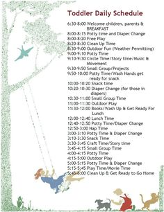 Another toddler schedule. I'm swiping these from daycares...