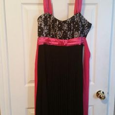 Pink black and white dress