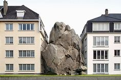 'fictional architecture' by filip dujardin, part of his photomontage building series Photomontage, Crazy Houses, Weird Houses, Rock Houses, Modernisme, Collage Techniques, Architectural Photographers, Architectural Models, Sayings