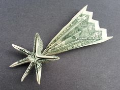Shooting Star Money Origami Dollar Bill Cash Sculptors Bank Note Handmade Dinero By Vincent-The-Artist, Usd Origami Letter, Origami Star Box, Origami Fish, Dollar Bill Origami, Money Origami, Origami Paper, Money Lei, Oragami, Paper Folding Art