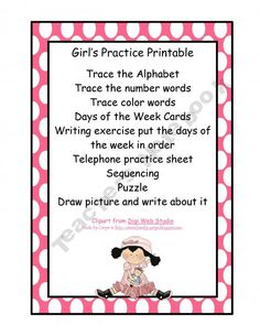Girls Practice Printable