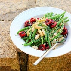 a quick hello from bretagne plus a recipe for this green bean, quinoa + tarragon salad with fresh cherries and marcona almonds on the blog today, guys! sunny days + a bowl full of goodness. happiness is.