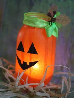 DIY Halloween Decorations - Mason Jar Luminaries