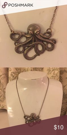 Steam punk glamour metal octopus necklace. Nothing says steam punk like a metal octopus necklace. 9.5 inches long Jewelry Necklaces