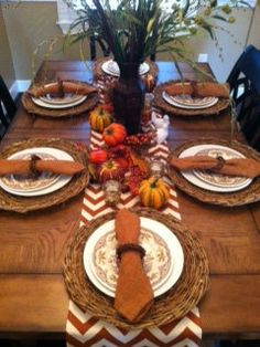 rust and natural chevron table runner, perfect for your fall table setting!