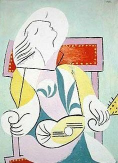 """Pablo Picasso """"Young Woman with Mandolin"""" 1932 (University of Michigan Museum of Art) Pablo Picasso, Kunst Picasso, Picasso Art, Picasso Paintings, Picasso Collage, Trinidad, Picasso Prints, Framing Canvas Art, Cubist Movement"""