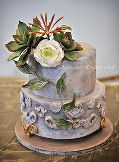 Succulent and ranunculus cake - Cake by Savenko Sugar Art