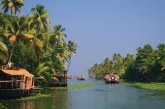 Rice boats, Kerala backwaters, India
