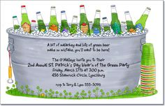 St. Patrick's Day Invitations: Bucket of Green Beer Party Invitation