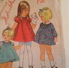 Vintage 1960s Sewing Pattern Girls Dress Toddler Size 2VTG Children's Clothing