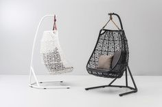 Kettal Maia Egg Swing chairs designed by Patricia Urquiola. Egg Swing Chair, Hanging Swing Chair, Hanging Beds, Swinging Chair, Swing Chairs, High Chairs, Bar Chairs, Hanging Chairs, Office Chairs