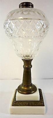 Beautiful Antique Stepped Milk Glass Base & Pear Shape Font Fluid Lamp