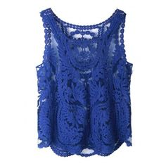 Choies Blue Crochet Lace Vest with Mesh Insert ($9.90) ❤ liked on Polyvore featuring tops, vest tank, blue vest, vest top, blue singlet and mesh insert top