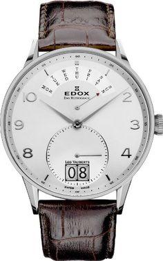 Edox Les Vauberts Silver Dial Black Leather Mens Watch 34005-3A-ABN