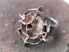 "Juhls Kautokeino - Frank & Regine Juhls (NO), from ""Tundra Series"" vintage brutalist sterling silver ring, 1960s. #norway   finlandjewelry.com #forsale"