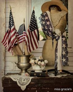 Gorgeous patriotic porch display - shared at the Knick of Time Tuesday Vintage Style Party