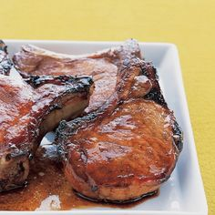 Marinated Pork Chops by marthastewart via buzzfed: MARINADE: soy sauce + hoisin sauce + garlic + honey + sugar + 1 to 24 hours. I used Sriracha sauce instead of hoisin sauce. Honey Pork Chops, Marinated Pork Chops, Pork Loin, Pork Chop Recipes, Meat Recipes, Cooking Recipes, Garlic Recipes, Supper Recipes, Cooking Food