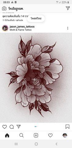 Japanese Peony Tattoo, Japanese Flowers, Floral Tattoo Design, Flower Tattoo Designs, Flower Outline, Flower Art, Japan Flower, Birth Flower Tattoos, Asian Tattoos