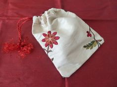 Bag Embroidered Flower Silk Dupion Drawstring by DianeShawSilk