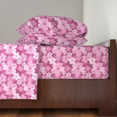 Langshan Sheet Set featuring Hibiscus Flowers Pink and Burgundy by linda_baysinger_peck | Roostery Home Decor