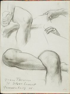 """John Singer Sargent - Study of Legs and Hands for Seated Angel at Right, """"Israel and the Law,"""" Boston Public Library"""