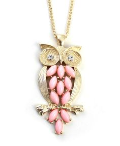 Owl Necklace with Diamante and Beads Embellishment