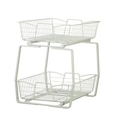 ORG™ Mesh 2-Tier Sliding Cabinet Basket in Silver | Interiors and ...