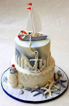 Nautical cake adding some more layers or cupcakes would be a great beach theme wedding cake! Gorgeous Cakes, Pretty Cakes, Cute Cakes, Amazing Cakes, Unique Cakes, Creative Cakes, Nautical Cake, Sailboat Cake, Nautical Theme