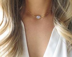 Minimalist and Dainty Layered Necklaces and Jewlery by LandonLacey Dainty Gold Necklace, Moonstone Necklace, Moonstone Pendant, Pendant Necklace, Hanging Necklaces, Girls Necklaces, June Birth Stone, Organza Gift Bags, Gold Filled Jewelry