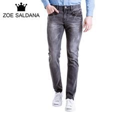 >> Click to Buy << Zoe Saldana Fashion Gradient Gray Faded Washed Men Jeans High Quality #Affiliate