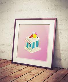 Ice Cream Store Printable Art  Minimalist Dessert Poster