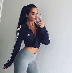 Cute outfit. Adidas jacket. Leggings. Sporty outfit.