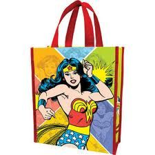 The Wonder Woman Recycled Shopper Bag is a light shopping tote made from recycled materials featuring images of Wonder Woman in mid-deflection, and images of Woman enjoying the action, bathe Wonder Woman Party, Reusable Grocery Bags, Marvel, Shopper Tote, Gift Bags, Backpack Bags, At Least, Wonder Women, Shopping Bags