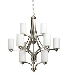 Parkdale 12 lite 3 tier large chandelier features its clean and simple design complimented with opal white glassware in polished nickel finish