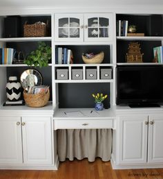 This would work as a hiding place for litter box Home office bookcase with IKEA KVARNVIK storage boxes - great for staying organized! Organizing Your Home, Home Organization, Organizing Tips, Cozy Home Office, Built In Bookcase, Styling Bookshelves, Painted Bookcases, Driven By Decor, Kitchen Nook