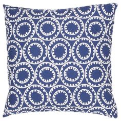 "The Jaipur Veranda collection offers versatile patterning perfect for indoor and outdoor areas of the home. The Ring-A-Bell decorative pillow features a whimsical circle pattern in Twilight Blue and Cloud Dancer to reflect modern, coastal-inspired style. 7""W x 20""H. 18""W x 18""H. 100% polyester. Available in 2 sizes. Safe for indoor/outdoor use. Polyfill filling. Washable pillow cover. Colors noted are Pantone TPX."