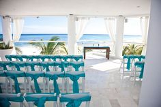 Someone's recent wedding @ Playacar Palace wedding terrace!- Maybe Yellow for my chair swags???