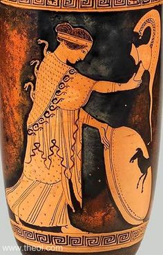 Museum of Fine Arts, Boston, Massachusetts, USA Attic Red Figure - Lekythos Attributed to the Nikon Painter Date: ca 470 BC Period: Classical Athena stands holding her helm and shield. She is draped with her serpent-headed aigis cloak.